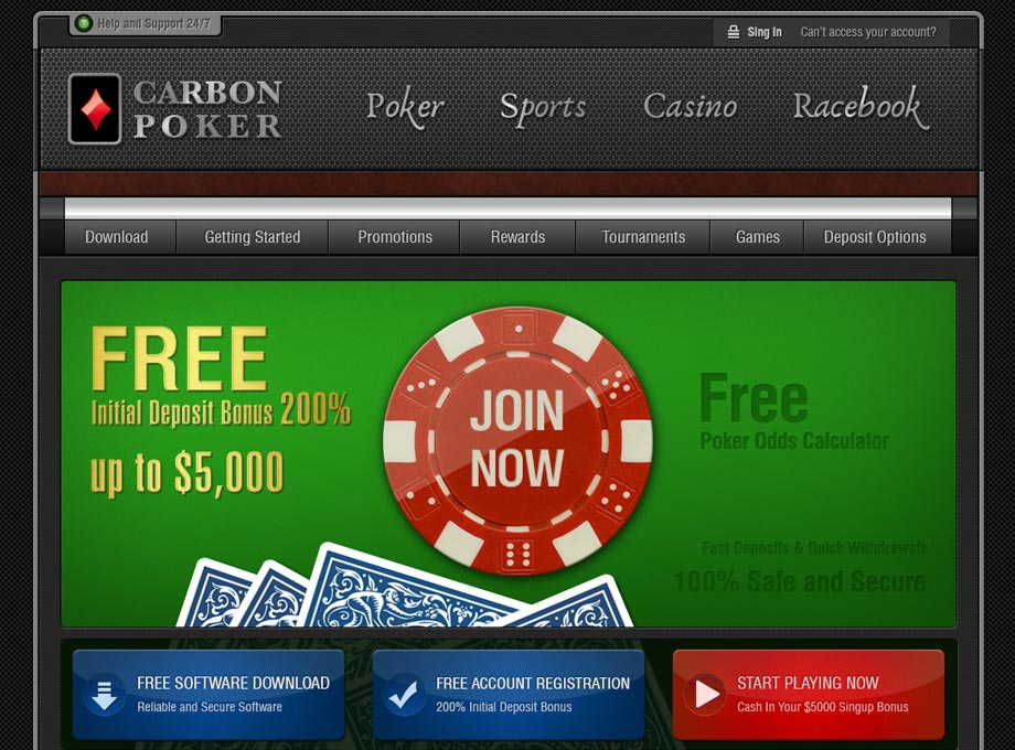 Online Poker HomePage Design for Online Betting Company Carbon Sport
