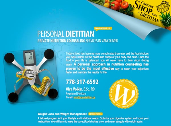 Private Nutrition Counselor Website Design for Private Clients Personal Projects