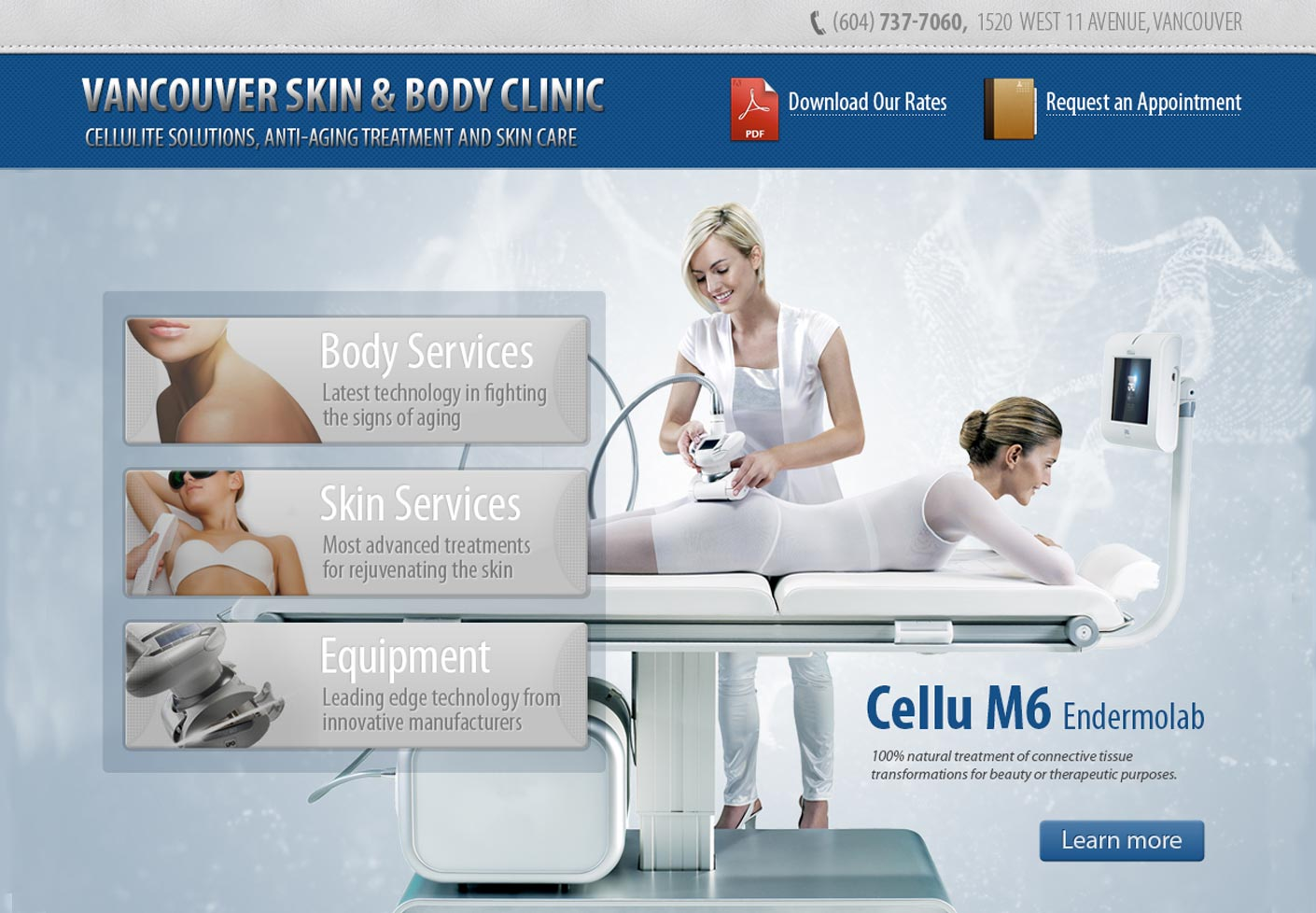 Skin Clinic Website Graphic Design